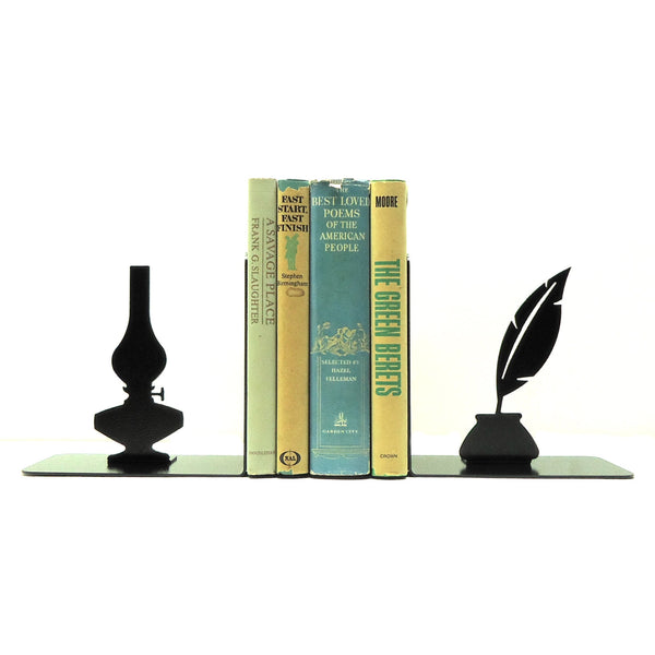 Oil Lamp & Inkwell Bookends - Knob Creek Metal Arts