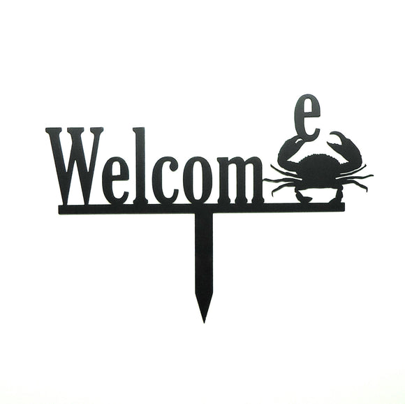 Welcome Crab Yard Stake - Knob Creek Metal Arts