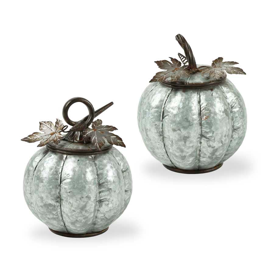 Set of 2 Metal Lidded Pumpkins w/Leaves and Stem