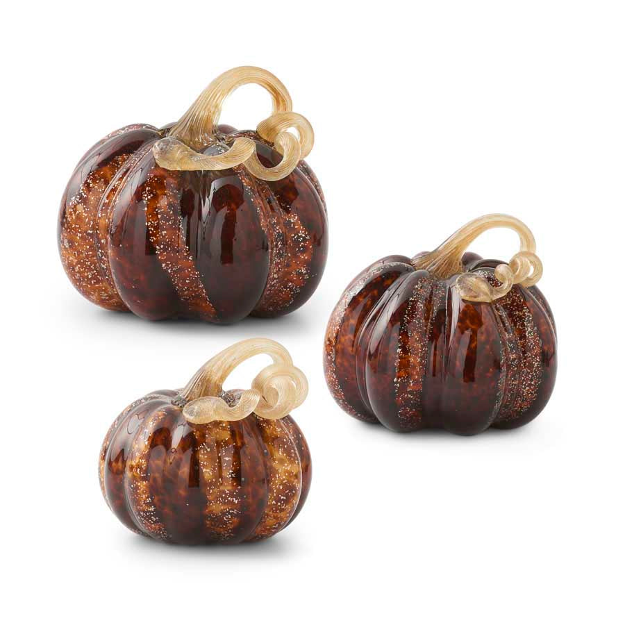Set of 3 Speckled Glass Pumpkins