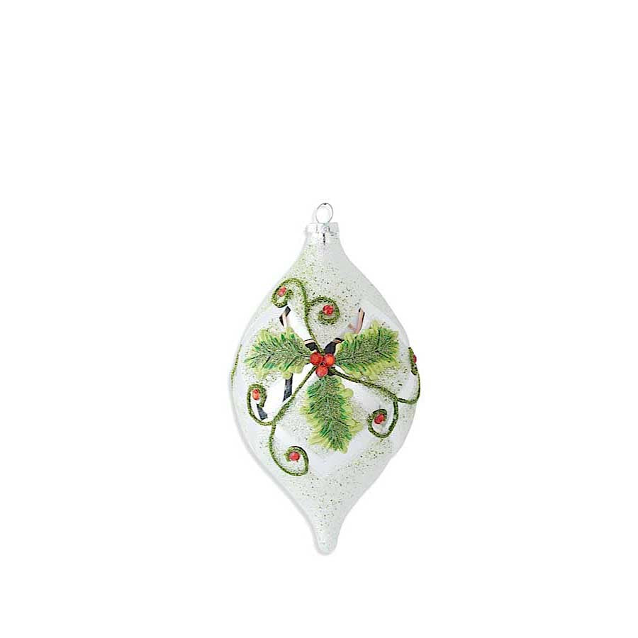 Tear Drop White Beaded Ornament with Mirrored Holly Motif