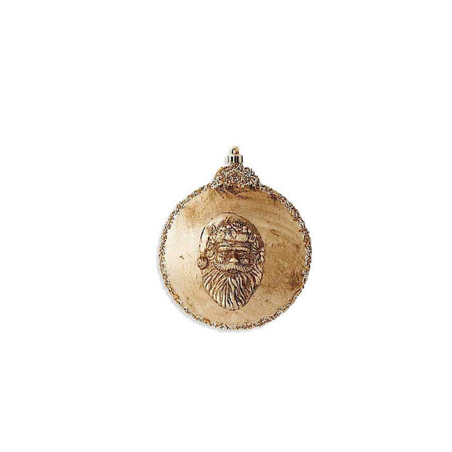 Round Gold Santa Head Shatterproof Ornament