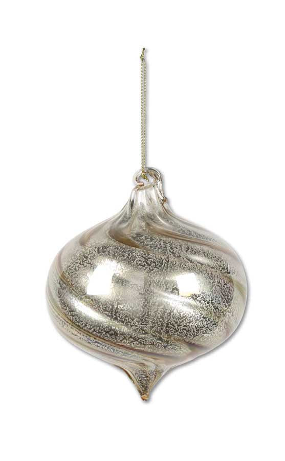 Sm Onion Brown Glass Ornament w/Ribbon Swirl