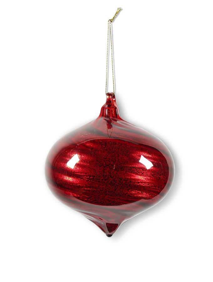 Sm Onion Red Glass Ornament w/Ribbon Swirl