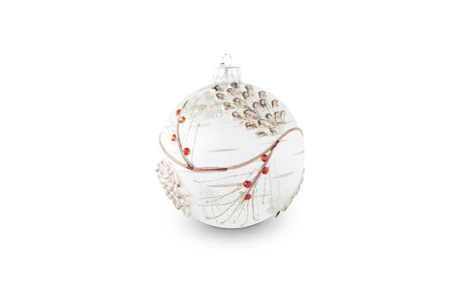 Lg Snowy Clear Glass Round Ornament w/Pinecone and Berries