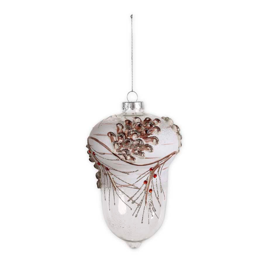 Snowy Clear Glass Acorn Ornament with Pinecone and Berries