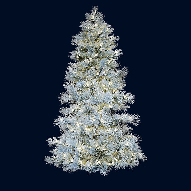 Long Needle Flocked LED Frosted Pre-Lit Tree