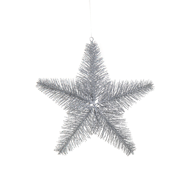 Glitter Wire Star Ornament - Silver - Medium