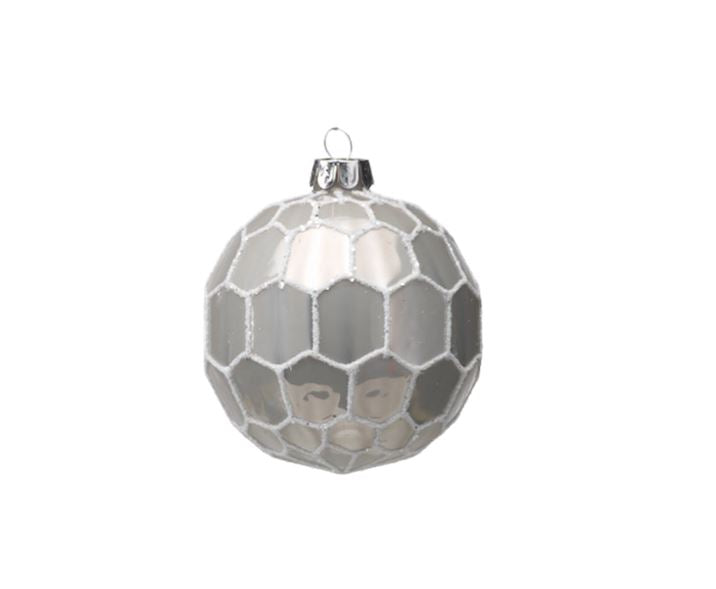 White and Gray Ball Ornament - Small