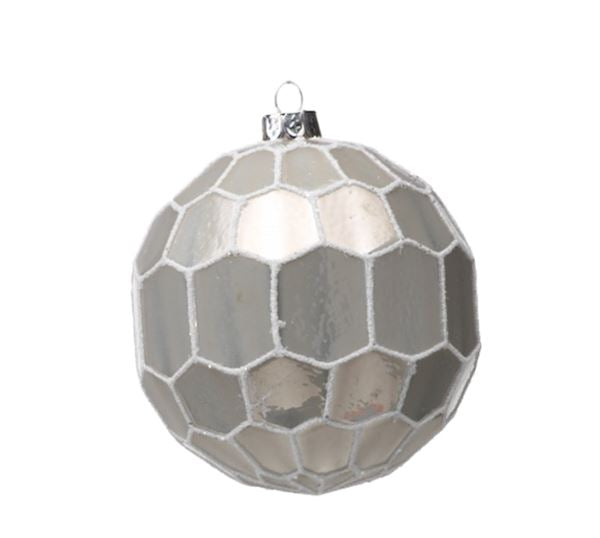 White and Gray Ball Ornament - Medium