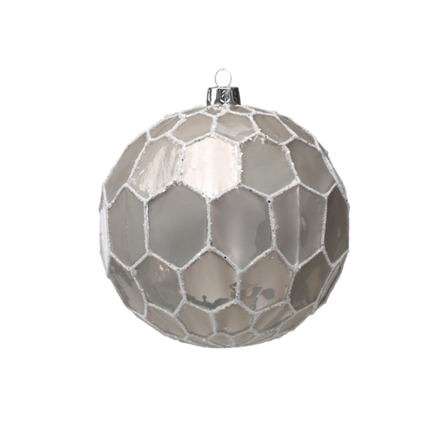 White and Gray Ball Ornament - Large
