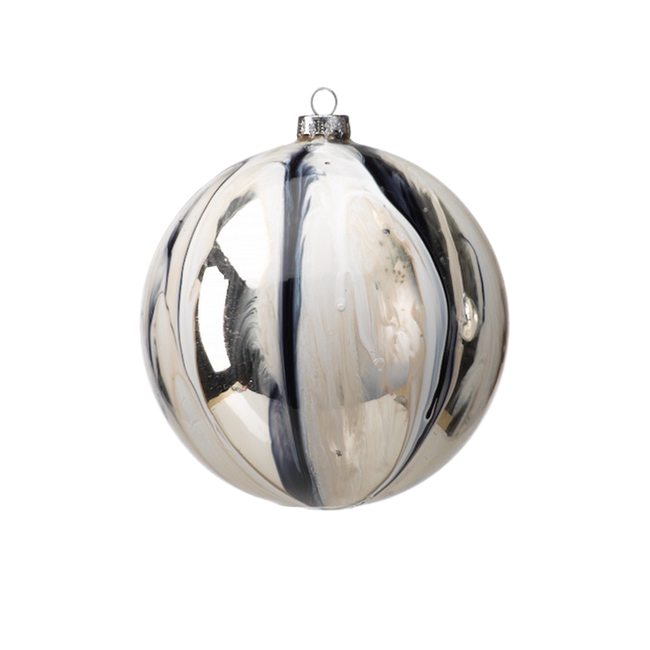Shiny White / Silver Ball Ornament - Large