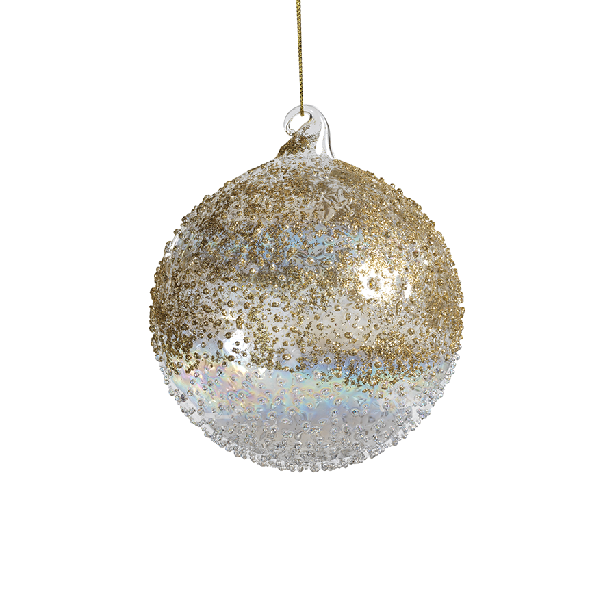 Gold Luster Beaded Ornament - Medium