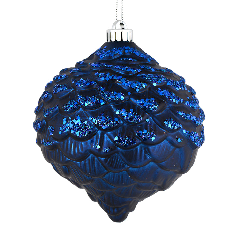 "6"" Midnight Blue Glitter Pine Cone"