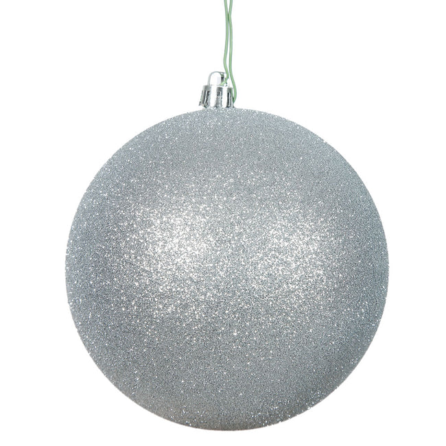 "8"" Silver Glitter Ball Drilled Cap"