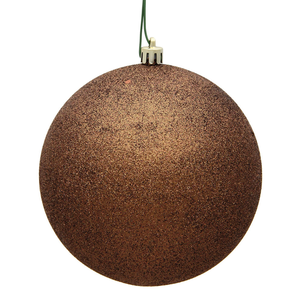 "6"" Mocha Glitter Ball Drilled"