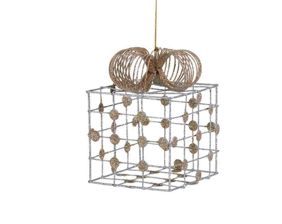 Silver Wire Box Ornament with Checkered Pattern - Gold Dots - Large
