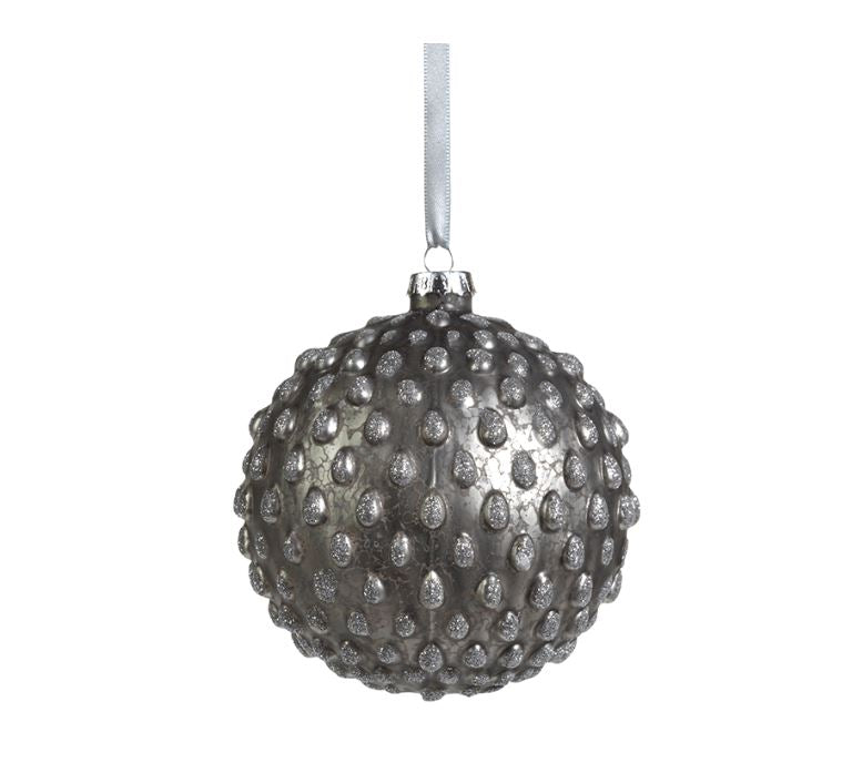 Studded Antique Silver Ball Ornament - Small
