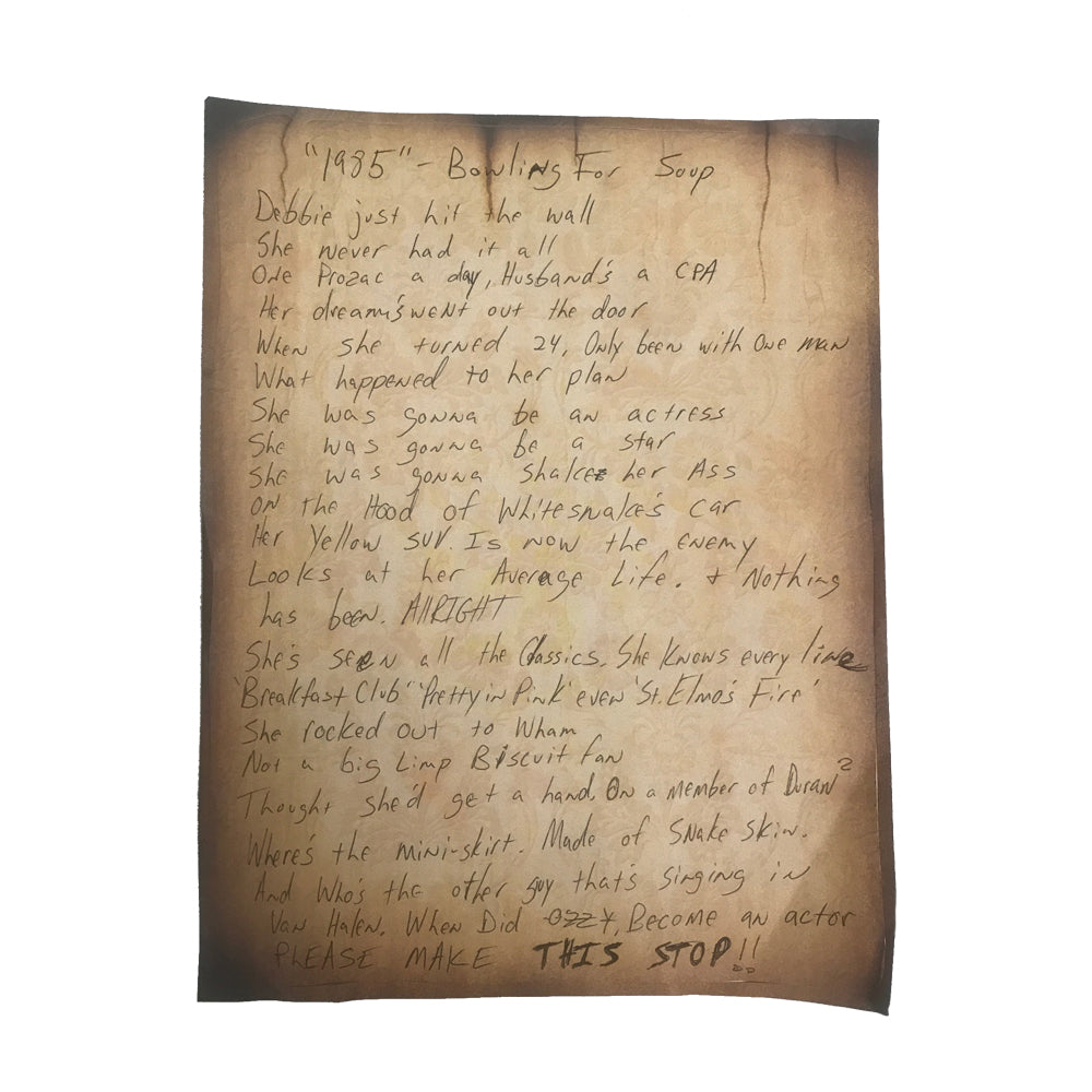 Handwritten Lyric Sheet from Drunk Enough To Dance