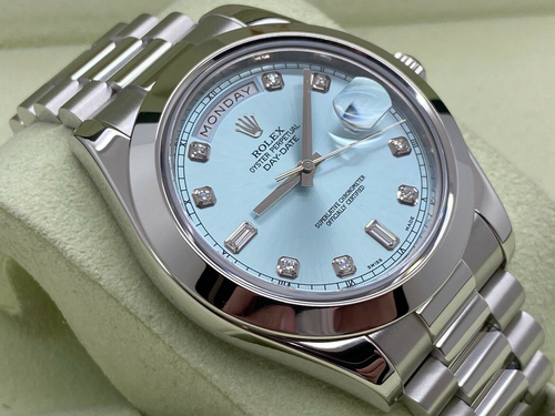 GENTS ROLEX PRESIDENT DAY-DATE II PLATINUM 41MM ICE BLUE DIAMOND DIAL