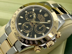 GENTS ROLEX DAYTONA 18CT GOLD/STEEL BLACK DIAL STICKERS 2009