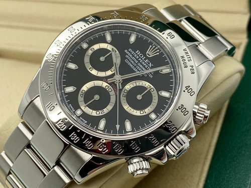 GENTS ROLEX COSMOGRAPH DAYTONA STEEL BLACK DIAL COLLECTORS 2002