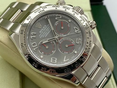 GENTS ROLEX DAYTONA 18CT WHITE GOLD GREY RACING DIAL WARRANTY 2013