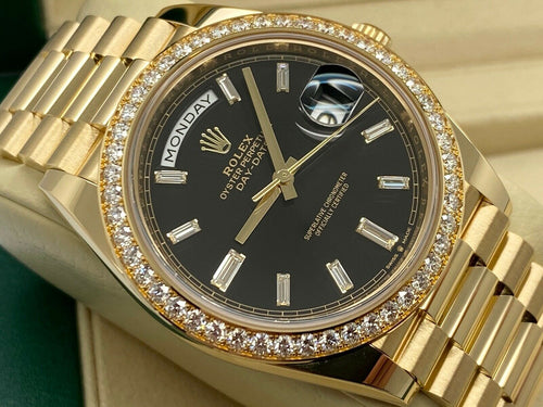 GENTS ROLEX DAY-DATE 40 18CT YELLOW GOLD FACTORY DIAMOND DIAL-BEZEL 2020