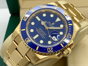 GENTS ROLEX SUBMARINER DATE 40MM 18CT YELLOW GOLD FLAT BLUE 2016
