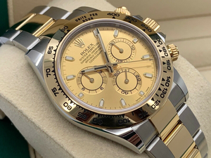 GENTS ROLEX DAYTONA 18CT GOLD/STEEL CHAMPAGNE DIAL WARRANTY 2020
