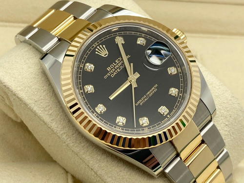 GENTS ROLEX DATEJUST 41 GOLD/STEEL BLACK DIAMOND DIAL UK 2019