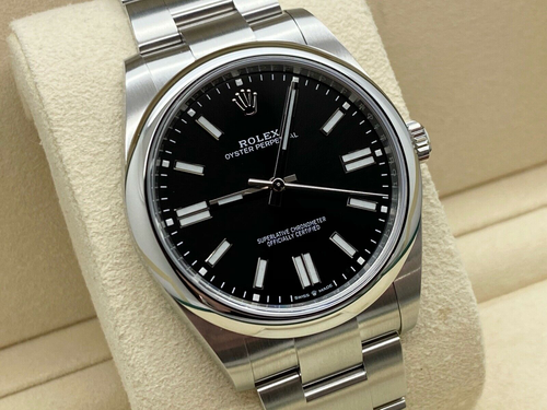 GENTS ROLEX OYSTER PERPETUAL 41MM STEEL BLACK DIAL WARRANTY 2020