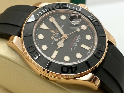 ROLEX YACHT-MASTER 37 OYSTERFLEX 18CT EVEROSE GOLD STICKERS 2015