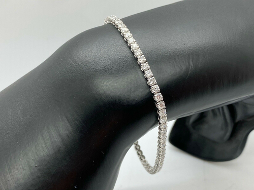 LADIES BRAND NEW 18CT WHITE GOLD DIAMOND TENNIS BRACELET 4.00CT
