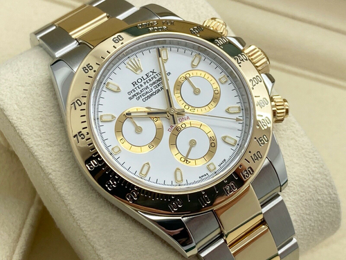 GENTS ROLEX DAYTONA GOLD/STEEL WHITE DIAL WARRANTY 2015