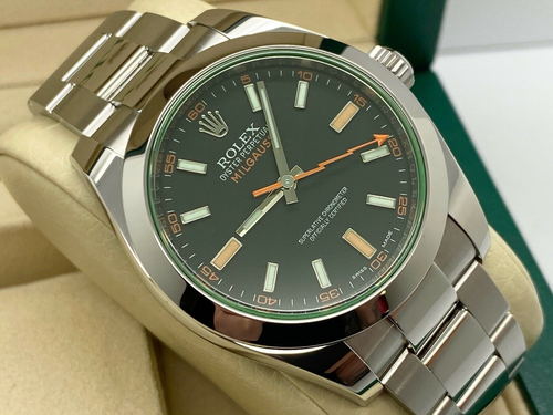 GENTS ROLEX MILGAUSS STAINLESS STEEL BLACK DIAL STICKERS UK 2018