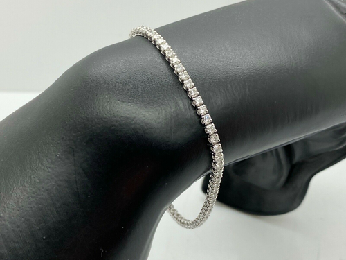 LADIES BRAND NEW 18CT WHITE GOLD DIAMOND TENNIS BRACELET 3.35CT