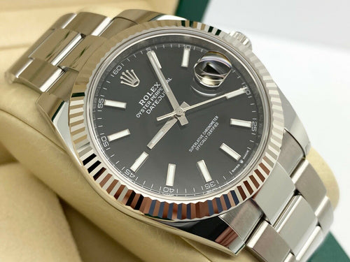 GENTS ROLEX DATEJUST 41MM STAINLESS STEEL BLACK DIAL STICKERS UK 2021