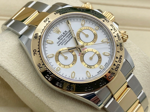 GENTS ROLEX DAYTONA 18CT GOLD/STEEL WHITE DIAL UNWORN UK 2020