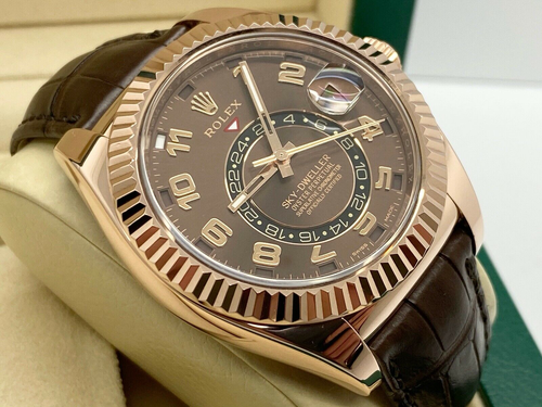 GENTS ROLEX SKY-DWELLER 18CT ROSE GOLD CHOCOLATE DIAL LEATHER 2013