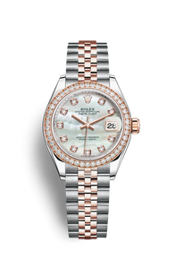 LADY DATEJUST 28 OYSTERSTEEL, EVEROSE GOLD AND DIAMONDS