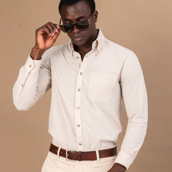 AFRICAN STONE TEXTURED COTTON BUTTON-DOWN SHIRT - Eaton Threads