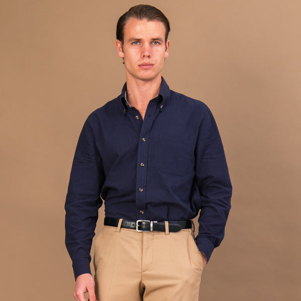 MIDNIGHT BLUE TEXTURED COTTON BUTTON-DOWN SHIRT - Eaton Threads