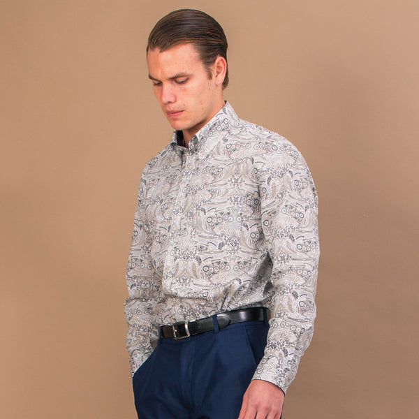 TANA LAWN BUTTON-DOWN SHIRT WITH GREY & BLUE PRINT - Eaton Threads