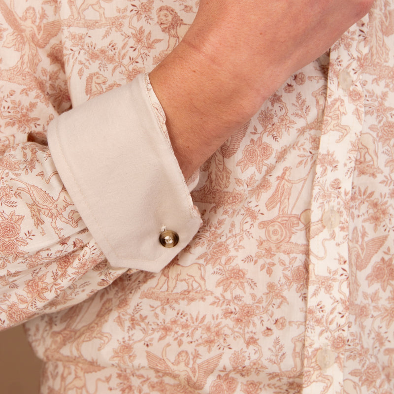 TANA LAWN BUTTON-DOWN SHIRT WITH BEIGE PRINT - Eaton Threads