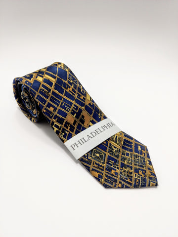 Philadelphia Map Tie Gold