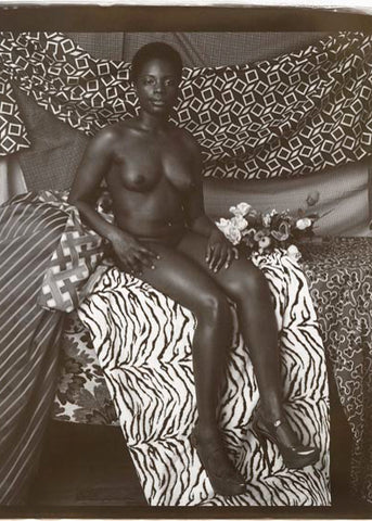 "Mickalene Thomas, ""Portrait of Marie Sitting in Black and White"""