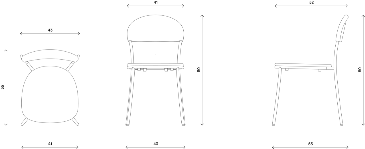 Bistro Chair - Technical Drawing - Hayche.com
