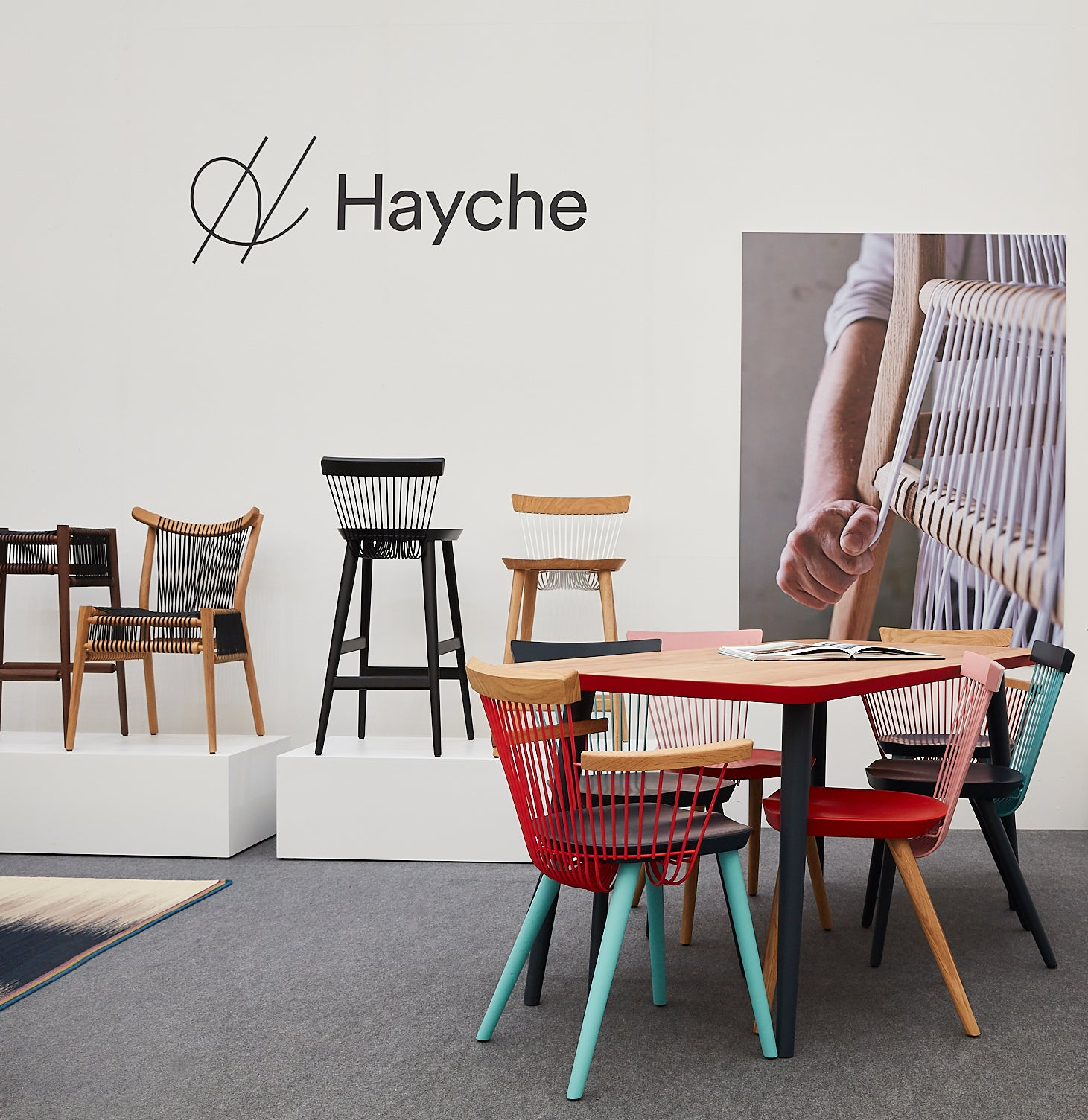 Hayche.com, Contract Furniture, H Furniture, Decorex 2018, Syon Park, WW Colour Armchair CS3, Loom Chair, WW Bar STool