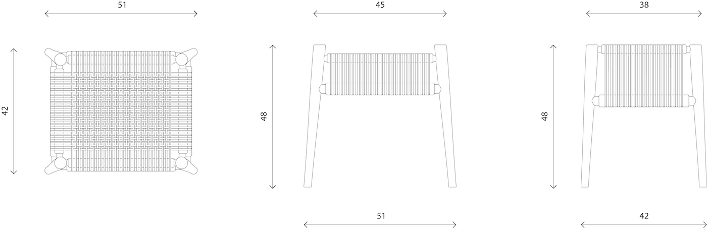 Techical Drawing for Loom Stool by Hayche